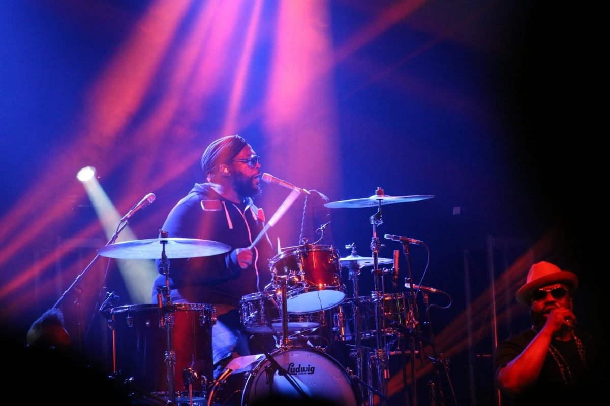 Drummer Questlove performs with The Roots.