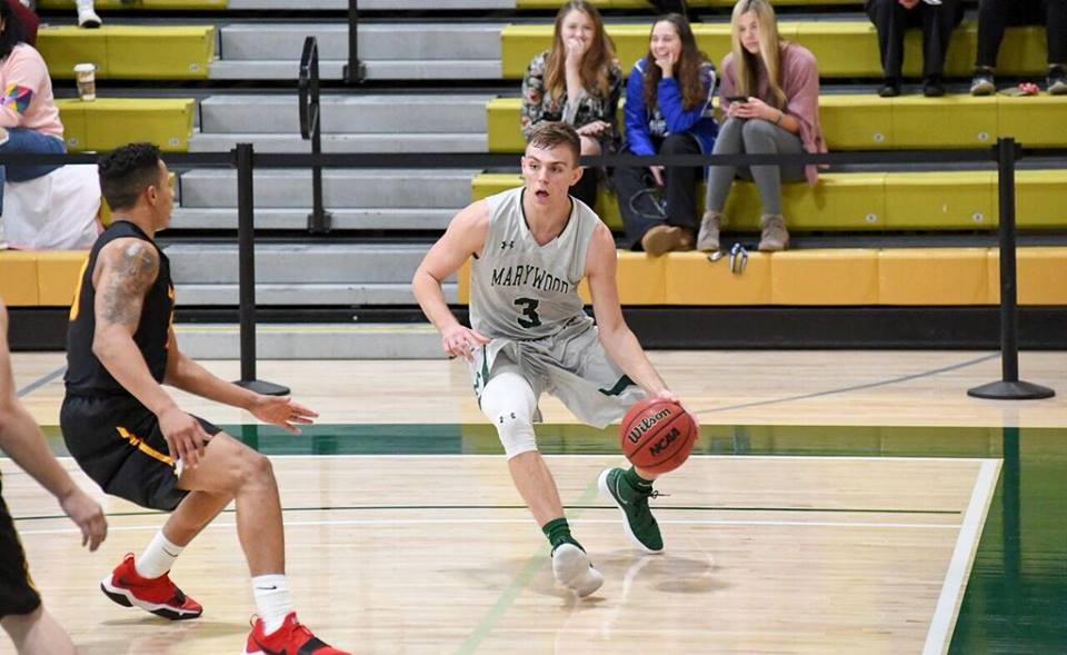 Tip Swartz goes off for 32 points in loss to Gwynedd Mercy. Photo courtesy of Marywood Athletics