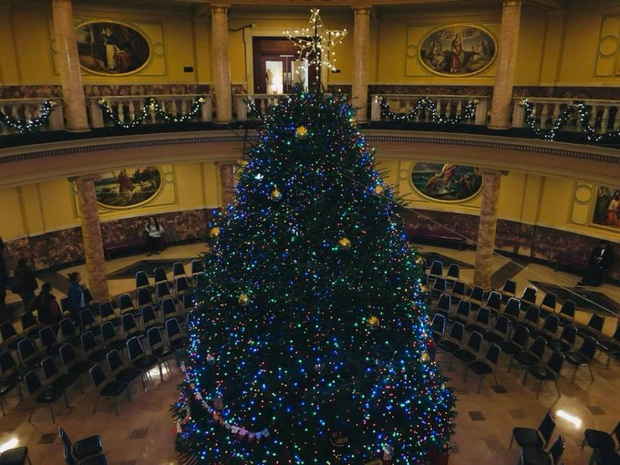 The towering evergreen remains lit through the holiday season in Marywood's Rotunda.