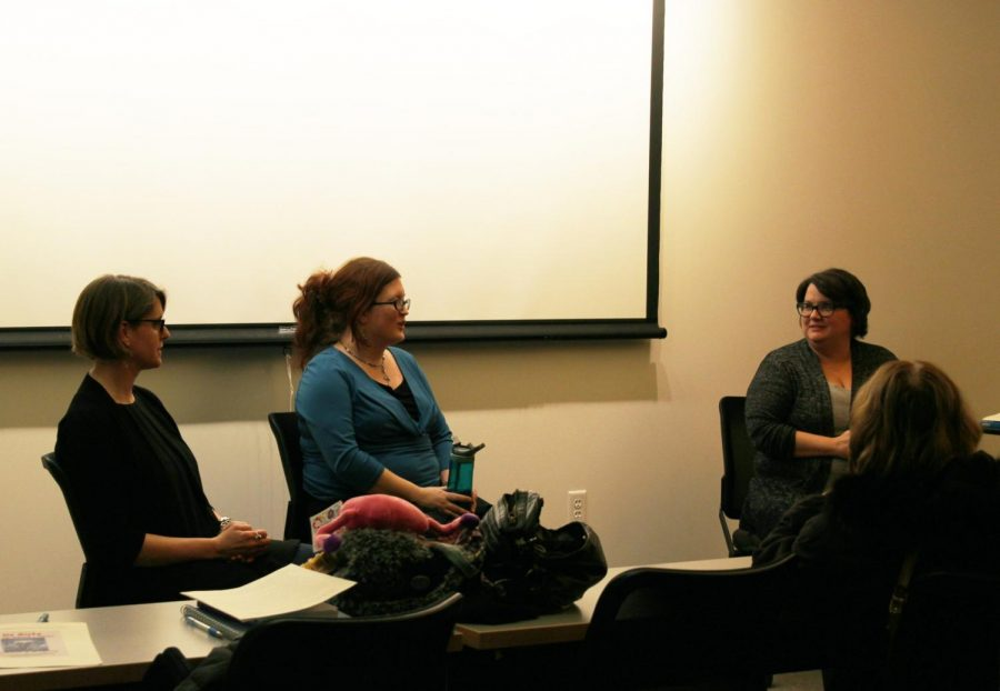 Dawn Leas, Rachael Hughes and Amye Archer speak at the author talk. Photo credit: Margaret Scott