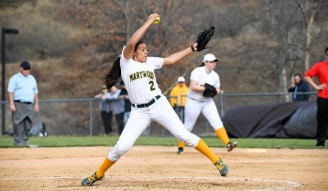 2017 CSAC Pitcher of the Year junior Kirstie Alvarez delivering a pitch last season. Photo credit: Photo courtesy of Marywood Athletics