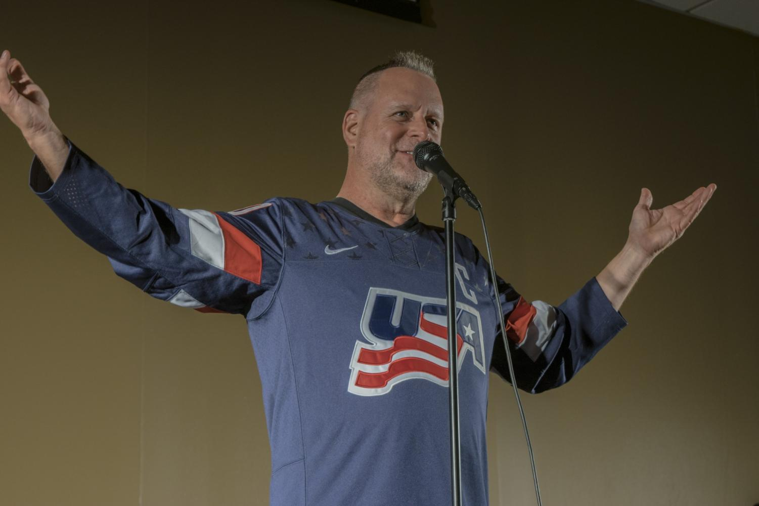 Dave Coulier performs standup to a room of 200 Marywood students. Photo credit: Bethany Wade