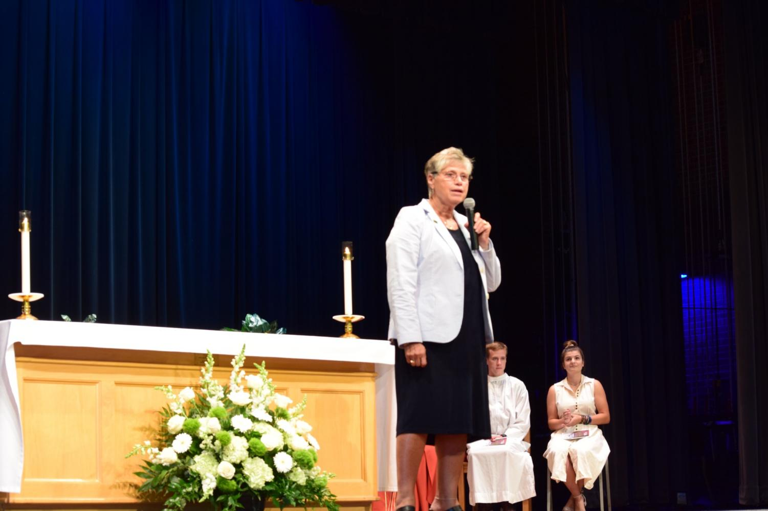 Sr. Mary Persico, IHM, Ed.D gave a speech touching on topics like empathy, kindness and love at Marywood University's 104th Opening Liturgy. Photo credit: Briana Ryan