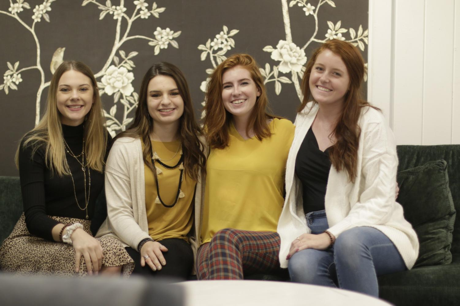 Third year interior architecture students (from left to right) Brenna Heller, Gina Nolan, Teagan Ingalls and Julia Taylor took their designs public at the High Point Market's fall show.