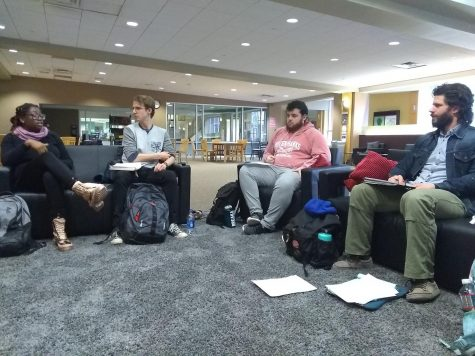Members of Marywood's newly formed chapter of YDSA meet to discuss their plans and ideas for the organization this semester. Photo credit: Elizabeth Deroba