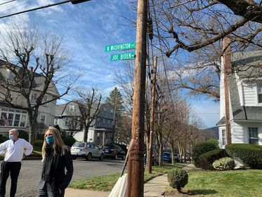 A ceremony was conducted Friday morning at the corner of North Washington Avenue and Fisk Street to dedicate the street to President-elect Joe Biden.