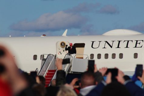 President Donald Trump arrives at Wilkes-Barre/Scranton International Airport in Avoca, Pennsylvania
