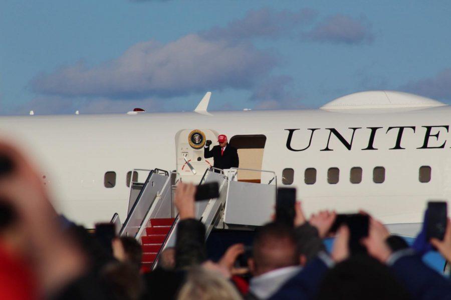 President Donald Trump arrives at Wilkes-Barre/Scranton International Airport in Avoca, Pennsylvania