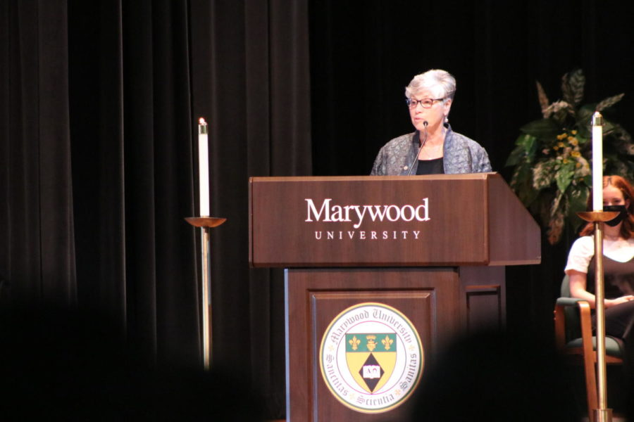 President Sr. Mary Persico, IHM, Ed.D, greets the Marywood community during the 107th annual opening liturgy.