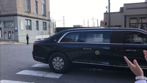 President Biden travels in his motorcade down Lackawanna Avenue to the Electric City Trolley Museum.